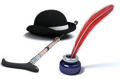 Old things. Symbol of Charlie Chaplin. inkpot with quill Stock Image