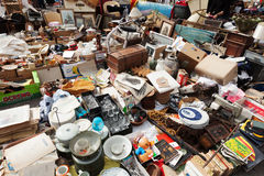 Old things at Encants Vells flea market. Barcelona Royalty Free Stock Photos
