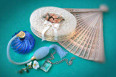 Fashion accessories old  and things of a female world. Still life about old things of a female world Royalty Free Stock Photos