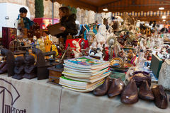 Old things at flea market at square before  Barcelona Cathedral Royalty Free Stock Photos