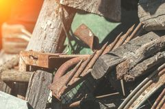 Old things and gardening tools. In the barn royalty free stock photography
