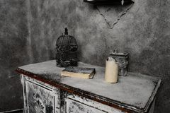 Old things in medieval abandoned house Stock Photography