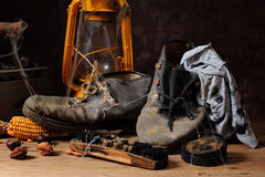 Old things and shoes Royalty Free Stock Photos