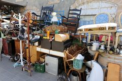 Old things and tools. Are sold on the flea market stock photos