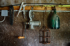 Old things on the wall in the closet: HDR picture Royalty Free Stock Photos