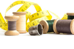 Old thread spools and thimble Stock Images