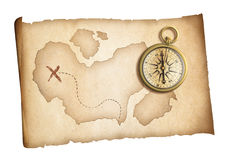 Old threasure map with brass compass isolated Royalty Free Stock Photos