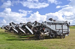 Old threshing machine lineup Royalty Free Stock Photography