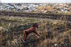 Old thrown away rocking horse Royalty Free Stock Photo