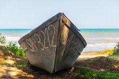 The old thrown fishing boat Stock Photography