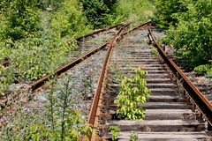 Old thrown railroad stock image