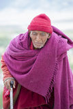 Old Tibetan Buddhist monk in the monastery Tiksey . Ladakh.India Royalty Free Stock Images