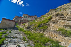 Old Tibetan Fortress. A view of an old fortress on a mountain in Tibet Stock Photo