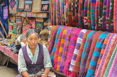 Old Tibetan Lady Selling Woolen Stoles Stock Photos