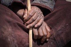 Old Tibetan man hand. Ladakh, India Stock Photo