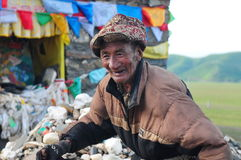 Old Tibetan man. In the west of sichuan province in china.  Shiqu country Stock Image