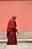 Old tibetan monk Stock Photo