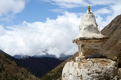 Old Tibetan stupa in Nepal ,Khumbu region,Himalayas Stock Photo