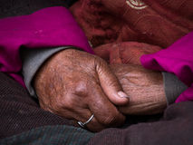Old Tibetan woman hand. Ladakh, India Royalty Free Stock Photo