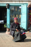 Old tibetan woman-refugee in Kathmandu,Nepal Stock Photos