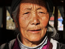 Old Tibetan woman. In the village of Namche Bazar in Nepal Stock Photography