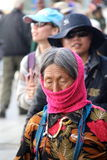 Old Tibetan women from lahasa. Going for morning wander around the stupa in lahasa Stock Photo