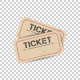 Old ticket with grunge effect. Flat vector illustration on isolated background. vector illustration