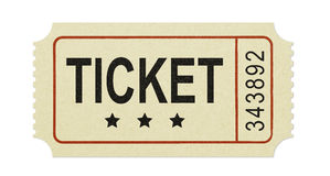 Old ticket. Ticket isolated on white background Royalty Free Stock Photo