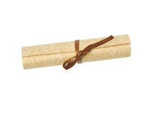 Old tied up parcel on a white background Stock Photos