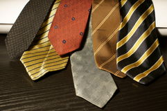 Old ties. On the table Royalty Free Stock Image