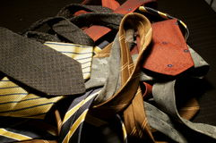 Old ties. On the table Stock Photos