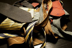 Old ties. On the table Stock Photography