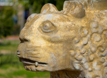 Old tiger statue. An old tiger statue at the park Royalty Free Stock Images