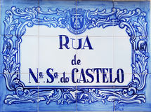 Old tile plaque in street of Aljustrel village Stock Photos