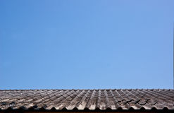Old tile roof on blue sky with no clouds. Royalty Free Stock Images