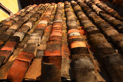 Old tile roof in chinese village Huangling Royalty Free Stock Photo