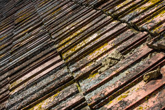 Old Tile Roof Texture. Old damaged tile roof close up texture Stock Photos
