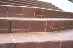 Old tile stairs with tile surface.  royalty free stock images
