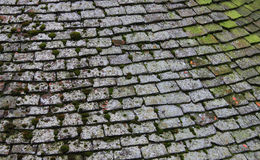 Old Tiled Roof. Old Tiled Slate Roof Close up Stock Photos