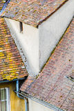 Old tiled roofs. In a small european town Stock Images