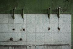 Old tiled wall of an industrial building Royalty Free Stock Image