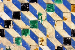 Old tiles. Old and broken tiles on a wall, Spain Royalty Free Stock Photography
