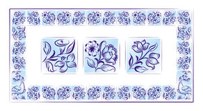 Old tiles color portuguese frame Royalty Free Stock Photos