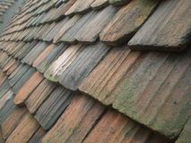 Old tiles on the roof of a castle Royalty Free Stock Photo