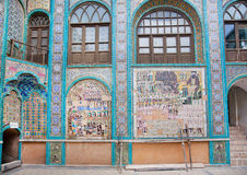 Old tiling of mosque Takieh Mo'aven ol-Molk with persian wariors Royalty Free Stock Photography