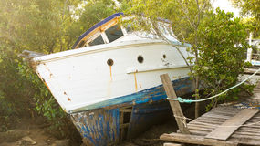 Old timber boat resting on it`s side. An old, damaged timber boat lying sideways amongst dense vegetation Royalty Free Stock Photography