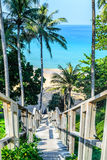 Old timber bridge to the beach Royalty Free Stock Photo