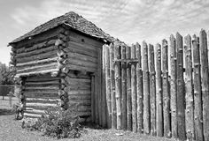 Old Timber Fort. Old Wild West fort in black and white Royalty Free Stock Images