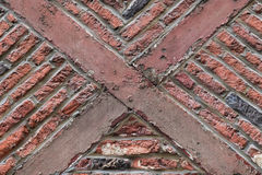 Old timber framed red brick wall ancient building style royalty free stock photo