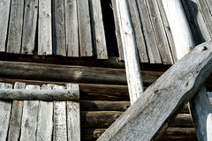 Old Timber Log Building Details Stock Photo